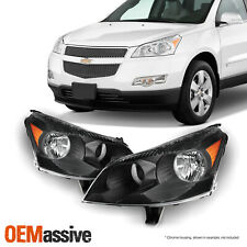 [Black] Fits 2009 2010 2011 2012 Chevy Traverse LH + RH Headlights Front Lamps