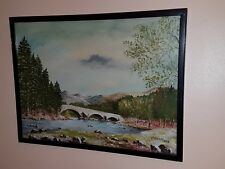 Vintage Oil Painting On Board 'Bridge' Signed By Scottish Artis W. Haining -1958