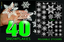 40 Removable Christmas Snowflake Stickers Decals Windows Decorations Reusable