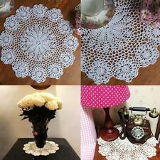 "14.5"" Lace Floral Round Cream Hand Crochet Cup Mat Doilies Coasters White Decocr"