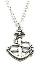 Anchor Boat Rope Necklace Sterling Silver Plated Chain Link Womens Jewelry