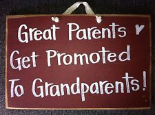 Great parents get promoted to Grandparents sign wood gift when you're expecting