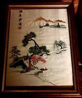 Signed Framed Japanese Tapestry Needlework on Silk Scenic Fiji Wall Hanging VGC