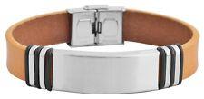 Herren Armband Edelstahl Leder beige inkl. Gravur verstellbar ID Band Neu