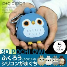 3D Pochi Friends Silicone Pouch Purse Case Blue Owl Bird Coin Wallet p+g design