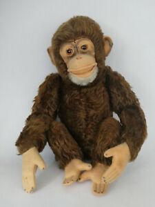 Sehr alter Steiff - Affe Jocko dunkelbraun, 5 Gelenke mit Knopf, Ende 50er Jahre
