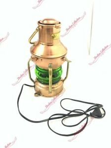 10'' Antique Nautical Iron Copper Electric Lamp Handmade Lantern Hanging Light
