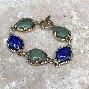 Barse Reversible Toggle Bracelet-Lapis & Green Jasper-Bronze- NWT