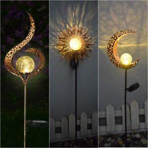 Solar Powered Full Moon LED Light Glass Globe Stake Garden Lawn Outdoor Lamp UK
