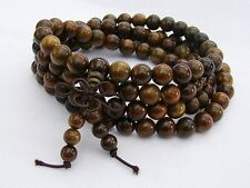 Pulsera Sándalo Budista Meditación Curación de mala Marrón Collar/Pulsera