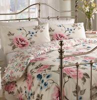 Vintage Shabby Chic Rink Rose Blue Floral  Cream DOUBLE Duvet Set NEW Reversible