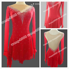 2018 Girl Competition Figure skating Dress Ice Skating Dress Costume Sparkle Red