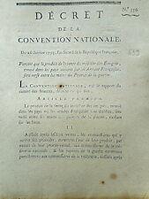 639 LOI  DECRET CONVENTION NATIONALE 1793 VENTE MOBILIER ÉMIGRÉ ARMÉE FRANÇAISE