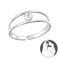 925 Sterling Silver Crystal Stone Double Wire Toe Ring Adjustable Jewellery