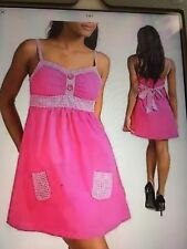 NWT 100% Cotton hot pink & gingham lightly padded sun dress by Mine/large/Sz. 9