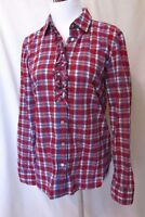 Talbots Blouse Shirt Women's Sz 4 Long Sleeve Ruffle Front Plaid Red White Blue