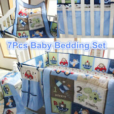 7Pcs Blue Baby Boy Bedding Crib Cot Set Nursery Quilt Bumper Sheet Blanket Cover