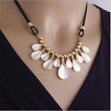 Fashion Women Crystal Flower Pendant Choker Chunky Statement Bib Chain Necklace