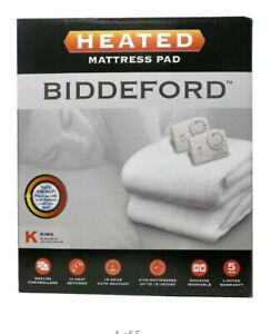 Electric Heated Mattress Pad KING Warming Quilted WHITE Cover Bed Biddeford NEW