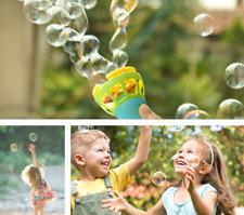 Children Outdoor Game Water Fun Toy Electric Fan Bubble Blower Gun