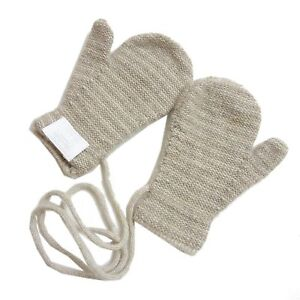 Authentic HERMES Baby mittens gloves Beige Cashmere 100% #4777