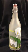 Vintage Cerve Glass Bottle hinged stopper Lillian Vernon Calla Lillies Italy