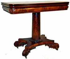 Gorgeous Antique 19th c. British Empire Flame Mahogany Carved Game Card Table
