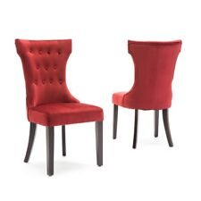 Set of (2) Dining Chairs Elegant Button Armless Kitchen Room w/ Wooden Legs, Red