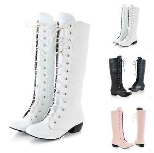 Womens Chunky Low Heel Mid Calf High Boots Lace Up Boots Shoes Pole Dancing Goth