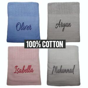 Personalised Cellular Blanket 100% Cotton Boys Girls Birthday Christening Gift