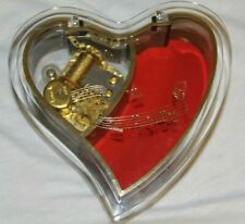 "Vintage Heart shaped music jewelry box Sankyo Japan plays ""My favorite things""."