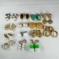Vintage Clip-On Screw Back Earring Lot of 14 Enamal Shell Button Cluster Mix