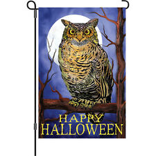 """Owl and Moon"" 12"" Halloween Garden Flag by Premier"