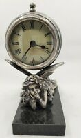 Vintage Pewter Fairy Clock With Marble Base