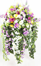 LARGE READY TO HANG ARTIFICIAL FLOWERS HANGING BASKET MULTI COLOR HANDMADE GARDE