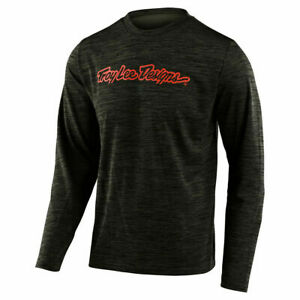 TROY LEE DESIGNS 2020  FLOWLINE L/S JERSEY SIGNATURE HEATHER GREEN/TANGERINE LG