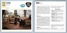 Tatra - T11/T12 -  1923-33 Popular Collectors Club Card
