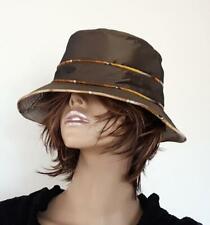 HERMES Unisex Reversible Bucket Hat Slouch Chocolate Bronze Silk Brand New