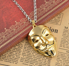 Films Gold Plated V for Vendetta Mask Costume ID Movie Pendants Necklace