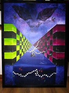 """Love Me Tender"", Original, Black Frame, Acrylic, Fantasy, Surrealism, Signed"