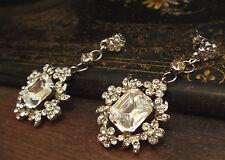 Vintage Crystal Flower and Emerald Cut Crystal Pierced Drop  Earrings