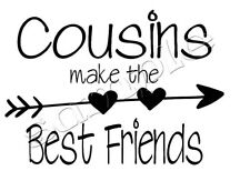 Iron on Transfer COUSINS MAKE THE BEST FRIENDS ARROW HEART BOHO 16x11cm