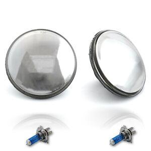 """7"""" Crystal Clear Mirrored Lens Headlight Halogen City Light Bulb Headlamp Pair"""