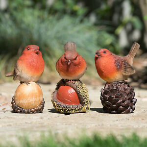 Small 11cm Robin Bird Garden Ornament Decoration Outdoor Figure Sculpture Decor
