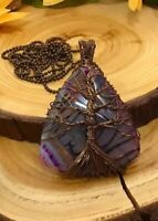 """Tree Of Life Handcrafted Wire Wrapped Agate Pendant with 30"""" Long Sweater Chain"""