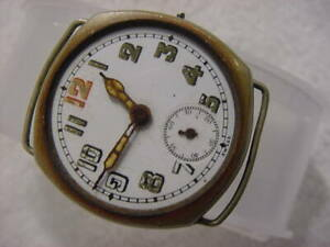 Vintage large antique WWI World War I MILITARY SIGLIB CUSHION TRENCH mens watch