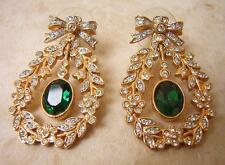 CHRISTALINA - VICTORIAN STYLE EMERALD & DIAMOND PASTE EARRINGS swarovski crystal