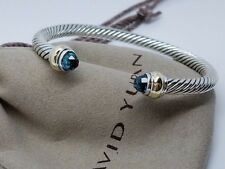 David Yurman Sterling Silver & 14k Gold Cable 5mm Blue Topaz Bangle Bracelet