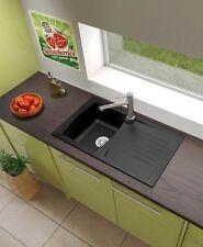 respekta Küchen Spüle Mineralite Spülbecken Einbauspüle Boston 86 x 50 schwarz
