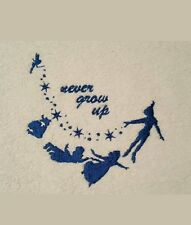 Embroidered Facewasher Peter Pan & Wendy -Never Grow Up.
